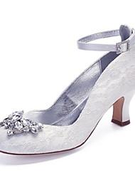 hesapli -Kadın's Ayakkabı Saten / Sentetikler İlkbahar yaz Tatlı Düğün Ayakkabıları Kıvrımlı Topuk Yuvarlak Uçlu Düğün / Parti ve Gece için Taşlı / Işıltılı Pullar Beyaz / Kristal