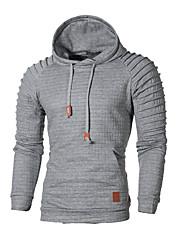 hesapli -Erkekler uzun kollu hoodie - düz renkli kapüşonlu açık gri m