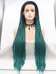 halpa -Synteettiset pitsireunan peruukit / Dreadlocks / Faux Locs Naisten punottu Musta Kerroksittainen leikkaus / Letti 130% Hiuksista Density Synteettiset hiukset 24 inch Naisten / Letitetyt hiukset Musta