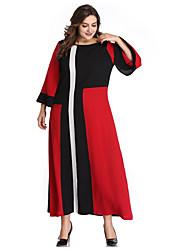 Недорогие -Жен. Большие размеры Элегантный стиль Оболочка Платье - Контрастных цветов Макси / Сексуальные платья