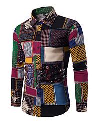 Недорогие -Муж. Пэчворк Рубашка Уличный стиль Контрастных цветов