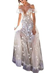 Недорогие -Жен. Элегантный стиль Оболочка Платье - Однотонный, Кружева Открытая спина На бретелях Макси / Сексуальные платья