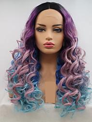 voordelige -Pruik Lace Front Synthetisch Haar Dames Watergolf Zwart Gelaagd kapsel 130% Human Hair Density Synthetisch haar 24 inch(es) Dames / Kleurgradatie Zwart / Paars Pruik Lang Kanten Voorkant Regenboog