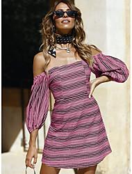 Недорогие -Жен. Классический Оболочка Платье - Однотонный / Полоски Выше колена