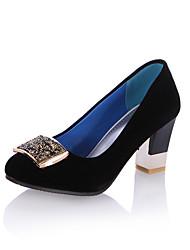 hesapli -Kadın's Ayakkabı PU İlkbahar & Kış Vintage / Minimalizm Topuklular Kalın Topuk Yuvarlak Uçlu Günlük / Ofis ve Kariyer için Mavi / Pembe / Şarap