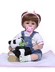 Недорогие -NPKCOLLECTION NPK DOLL Куклы реборн Кукла для девочек Девочки 18 дюймовый Подарок Ручная работа Искусственная имплантация Коричневые глаза Детские Девочки Игрушки Подарок