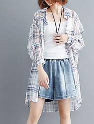 olcso -női ázsiai méretű vékony ing - kockás / színes blokk ing gallér