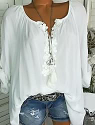 Недорогие -Жен. Кружева / Оборки Большие размеры - Блуза U-образный вырез Геометрический принт / Весна / Лето / Осень / Зима