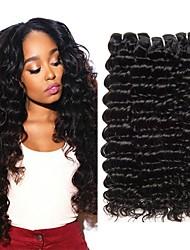 tanie -4 zestawy Włosy peruwiańskie Deep Wave Włosy virgin Nieprzetworzone włosy naturalne Fale w naturalnym kolorze Pielęgnacja włosów Doczepy 8-28 in Kolor naturalny Ludzkie włosy wyplata Miękka Najwyższa