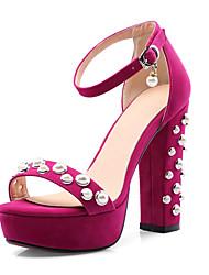 preiswerte -Damen Kunststoff Sommer Sandalen Plattform Offene Spitze Perlenstickerei / Imitationsperle / Schnalle Schwarz / Fuchsia / Mandelfarben / Hochzeit / Party & Festivität