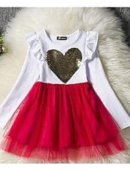 Χαμηλού Κόστους -Παιδιά Κοριτσίστικα Βασικό Μονόχρωμο Μακρυμάνικο Φόρεμα Ρουμπίνι