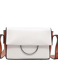 abordables -Mujer Bolsos PU Bolsa de hombro Botones / Cremallera Color sólido Blanco / Negro