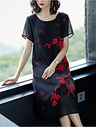 cheap -Women's Plus Size Daily Going out Basic Elegant Loose A Line Shift Dress - Geometric Patchwork Print High Waist Spring Red Yellow XXL XXXL XXXXL