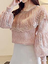 Недорогие -Жен. Кружева Блуза Уличный стиль / Шинуазери (китайский стиль) Однотонный