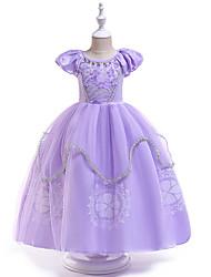 Χαμηλού Κόστους -Παιδιά / Νήπιο Κοριτσίστικα Ενεργό / Γλυκός Πάρτι Μονόχρωμο Κοντομάνικο Μακρύ Φόρεμα Βυσσινί