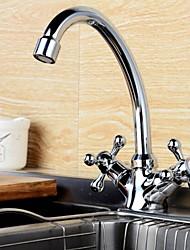 baratos -Torneira de Cozinha - Duas alças de um furo bico padrão Moderna Kitchen Taps