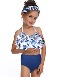 ราคาถูก -เด็ก / Toddler เด็กผู้หญิง พื้นฐาน / สไตล์น่ารัก Sport / ชายหาด ลายดอกไม้ ระบาย เสื้อไม่มีแขน ไนลอน ชุดว่ายน้ำ สีน้ำเงิน