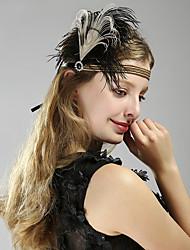 Χαμηλού Κόστους -Υπέροχος Γκάτσμπυ Δεκαετία του 1920 Gatsby Στολές Γυναικεία Κορδέλα μαλλιών του 1920 Καλύμματα Κεφαλής Λευκό Πεπαλαιωμένο Cosplay Πάρτι Χοροεσπερίδα Φεστιβάλ
