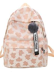 저렴한 -여성용 가방 면 배낭 패턴 / 프린트 용 일상 / 학교 가을 네이비 블루 / 아몬드 / 와인