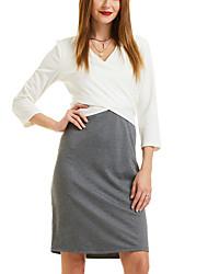 0f6ab0491e Women s Daily Basic A Line Dress V Neck Spring Gray XL XXL XXXL