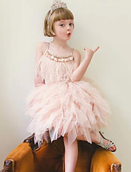 Χαμηλού Κόστους -Παιδιά Κοριτσίστικα Βασικό Μονόχρωμο Αμάνικο Φόρεμα Γκρίζο