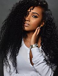voordelige -Echt haar Kanten Voorkant Pruik Diepe scheiding Rihanna stijl Braziliaans haar Gekruld Pruik 130% Haardichtheid met babyhaar Geschenk Hot Sale Comfortabel Naturel Dames Lang Kanten pruiken van echt