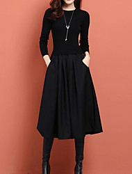 cheap -Women's Party Going out Elegant Maxi Skinny Two Piece Sweater Dress Choker Spring Black L XL XXL