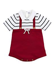 Χαμηλού Κόστους -Μωρό Κοριτσίστικα Ενεργό Καθημερινά Μαύρο & Κόκκινο Ριγέ Φιόγκος Μισό μανίκι Βαμβάκι Κορμάκι Ρουμπίνι