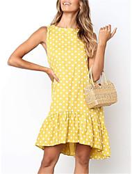 رخيصةأون -فستان نسائي كلاسيكي عصري طول الركبة منقط