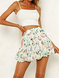 Недорогие -женские юбки выше колена - цветочные