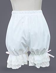 Недорогие -Classic Lolita Лолита Платья Брюки Жен. Девочки Хлопок Японский Косплей костюмы Белый Однотонный Лолита / Классическая и традиционная Лолита