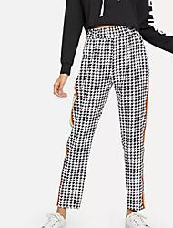 levne -dámské asijské velikosti štíhlé kalhoty kalhoty - zkontrolujte černé