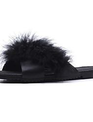 ieftine -Pentru femei Satin / Păr Cal Primăvară Dulce Papuci & Flip-flops Toc Drept Negru / Vișiniu