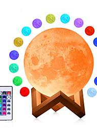 Недорогие -3d лунная лампа usb светодиодная ночь затемняемый свет лунного света сенсорный / дистанционное изменение цвета