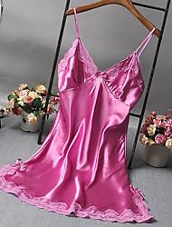 abordables -Femme Super sexy Nuisette & Culottes / Satin & Soie / Costumes Vêtement de nuit Dentelle, Couleur Pleine / V Profond