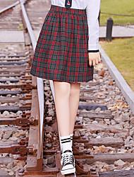 abordables -Estudiante / Uniforme de escuela Colegialas JK Uniform Falda Disfrace de Cosplay Mujer Chica Adulto Escuela secundaria Para Halloween Rendimiento Algodón Poliéster Cuadros / A Cuadros Falda Navidad