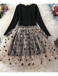 Χαμηλού Κόστους -Παιδιά Κοριτσίστικα Βασικό Μονόχρωμο / Πουά Μακρυμάνικο Φόρεμα Ανοικτό Καφέ