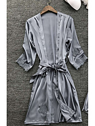 Недорогие -Жен. Кружева Сексуальные платья Халат / Шёлк и сатин Ночное белье Однотонный Темно синий Серый Винный M L XL