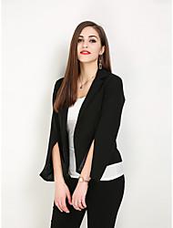 hesapli -Kadın's Dışarı Çıkma / Çalışma Vintage / Sokak Şıklığı İlkbahar & Kış / Bahar Normal Ceketler, Solid Yuvarlak Yaka Uzun Kollu Polyester Siyah XXXXXL / XXXXXXL / 8XL