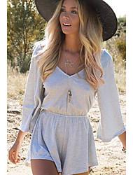 저렴한 -여성용 일상 스트리트 쉬크 블랙 그레이 롬퍼스, 솔리드 뒷면이 없는 스타일 L XL XXL 긴 소매