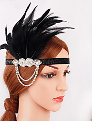 hesapli -Büyük Gatsby 1920'ler Gatsby Kostüm Kadın's Frapan Kafa Bandı Başlık Siyah Eski Tip Cosplay Parti Balo Festival