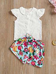 abordables -bébé Fille Actif / Basique Quotidien / Sortie Fruit Manches Courtes Court Coton / Polyester Ensemble de Vêtements Blanc