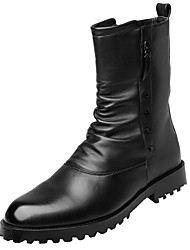 cheap -Men's Comfort Shoes PU(Polyurethane) Fall & Winter Boots Mid-Calf Boots Black