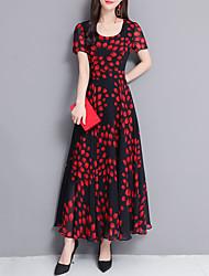 c59de81137d1 Dame Plusstørrelser I-byen-tøj Sofistikerede Elegant Draperede ærmer  Chiffon Swing Kjole - Geometrisk