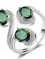 Недорогие -Жен. Открытое кольцо Цирконий 1шт Желтый Зеленый Синий Медь Свадьба Для вечеринок Бижутерия