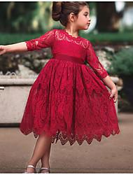 お買い得  -子供 女の子 ベーシック ソリッド ハーフスリーブ ドレス ホワイト