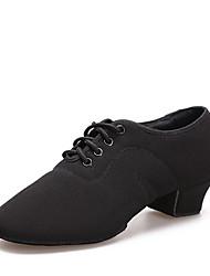 Недорогие -Жен. Танцевальная обувь Полотно Обувь для джаза На каблуках Толстая каблук Персонализируемая Черный / Выступление / Тренировочные