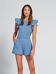 저렴한 -여성용 일상 푸른 롬퍼스, 솔리드 주름장식 M L XL 짧은 소매