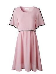 baratos -Mulheres Elegante Chifon Vestido - Com Corte, Sólido Acima do Joelho