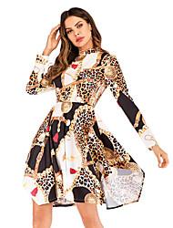 baratos -Mulheres Básico Bainha Vestido - Estampado, Leopardo Acima do Joelho